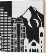 Portland Oregon Skyline Black And White Illustration Wood Print