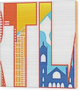 Portland Oregon Skyline Text Outline Color Illustration Wood Print