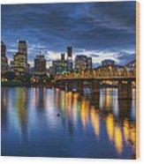 Portland Oregon Waterfront At Blue Hour Wood Print