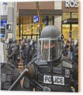 Portland Police In Riot Gear Closeup Wood Print