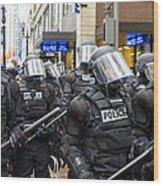 Portland Police In Riot Gear Wood Print