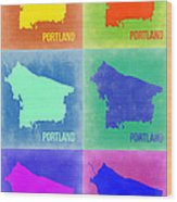 Portland Pop Art Map 3 Wood Print