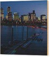 Portland Skyline 2 Wood Print