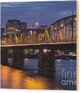 Portland Skyline And Hawthorne Bridge Wood Print