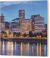 Portland Skyline Pm2 Wood Print