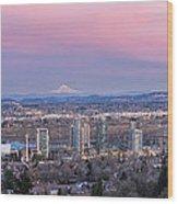 Portland South Waterfront At Sunset Panorama Wood Print