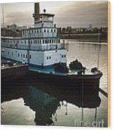 Portland Steam Sternwheeler  Tugboat Wood Print