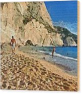 Porto Katsiki Beach In Lefkada Island Wood Print by George Atsametakis