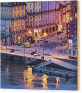 Porto Old Town In Portugal At Dusk Wood Print