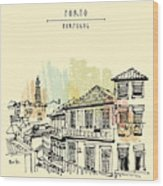 Porto, Portugal, Europe. Street In Old Wood Print