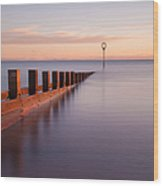 Portobello Beach Groynes Wood Print by John Farnan