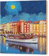 Portofino By Night Wood Print