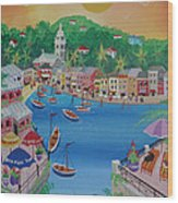 Portofino, Italy, 2012 Acrylic On Canvas Wood Print