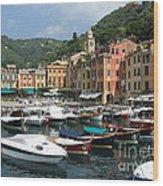 Portofino Port Entrance Wood Print