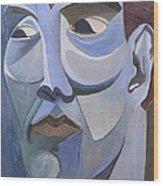 Portrait In Blue Wood Print