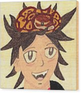 Portrait Of A Boy With A Ball Python On His Head Wood Print