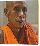 Portrait Of A Buddhist Monk Yangon Myanmar Wood Print