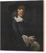 Portrait Of A Gentleman With A Tall Hat And Gloves Wood Print