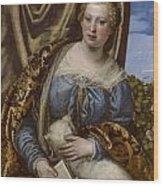 Portrait Of A Lady As Saint Agnes Wood Print