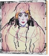 Portrait Of A Lady En Face After Gustav Klimt Wood Print