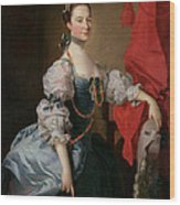 Portrait Of A Lady In A Blue Gown Wood Print