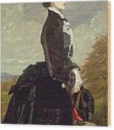 Portrait Of A Lady In Black With A Dog Wood Print