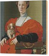 Portrait Of A Lady With A Lapdog Wood Print