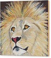 Portrait Of A Lion Wood Print