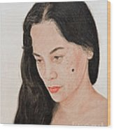 Portrait Of A Long Haired Filipina Beautfy With A Mole On Her Cheek Wood Print by Jim Fitzpatrick
