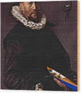 Portrait Of A Man Holding A Skull 1612 Wood Print