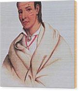 Portrait Of A-mis-quam, A Winnebago Brave Coloured Engraving Wood Print