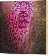 Portrait Of A Pink Leopard Wood Print