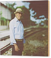 Portrait Of A Senior Man Wood Print