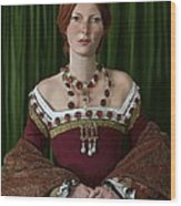 Portrait Of A Tudor Lady Wood Print