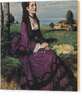 Portrait Of A Woman In Lilac Wood Print