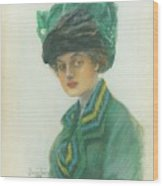 Portrait Of A Woman Wearing A Green Gown Wood Print