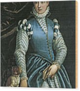 Portrait Of A Woman With A Dog Wood Print