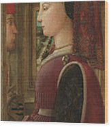Portrait Of A Woman With A Man At A Casement Wood Print