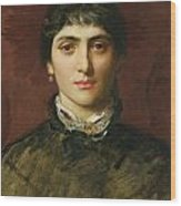 Portrait Of A Woman With Dark Hair Wood Print