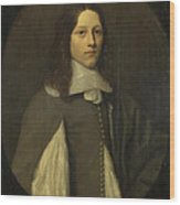 Portrait Of A Young Man In Grey Wood Print