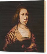 Portrait Of A Young Woman With A Carnation, C.1642 Oil On Canvas Wood Print