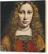 Portrait Of A Youth Crowned With Flowers Wood Print by Giovanni Antonio Boltraffio