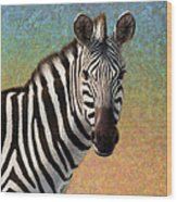 Portrait Of A Zebra - Square Wood Print