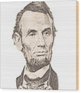 Portrait Of Abraham Lincoln On White Background Wood Print
