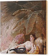 Portrait Of Adelaide Maria Guiness Reclining On A Sofa In A Conservatory Wood Print