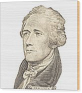 Portrait Of Alexander Hamilton On White Background Wood Print