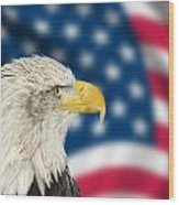 Portrait Of American Bald Eagle Against Usa Flag Stars And Strip Wood Print