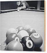Portrait Of An Awesome Pool Player Wood Print