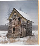 Portrait Of An Old Shack - Agriculural Buildings And Barns Wood Print