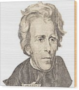 Portrait Of Andrew Jackson On White Background Wood Print